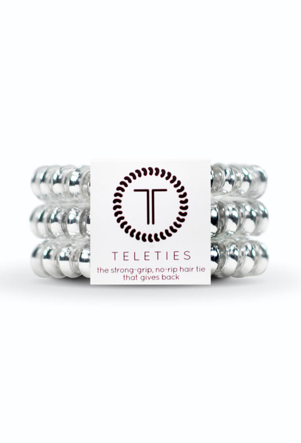 TELETIES Small Hair Ties - Electric Silver