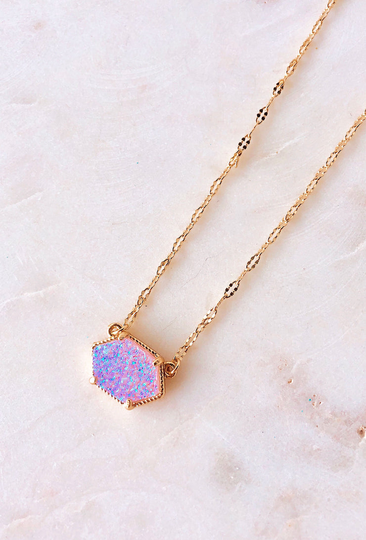 Elisa Druzy Pendant Necklace in Blue