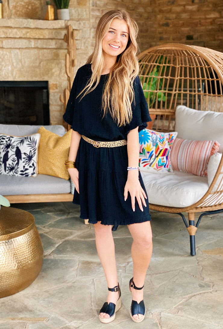 Elsie Dress in Black, smocked waist black summer dress with fringe hems and a tiered skirt
