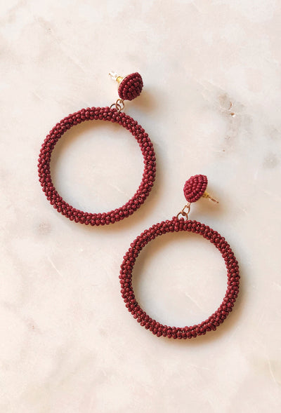 Emma Beaded Hoop Earrings in Burgundy, large burgundy beaded hoops with post backings