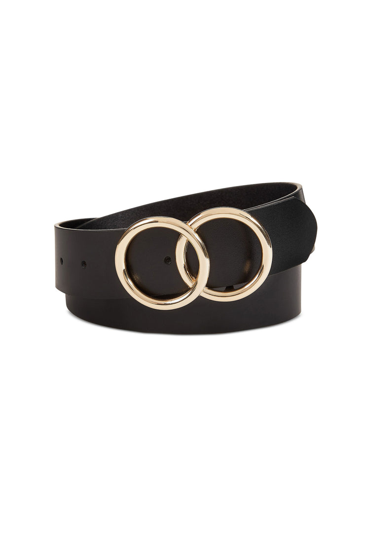 Eternity Double Circle Black Leather Belt