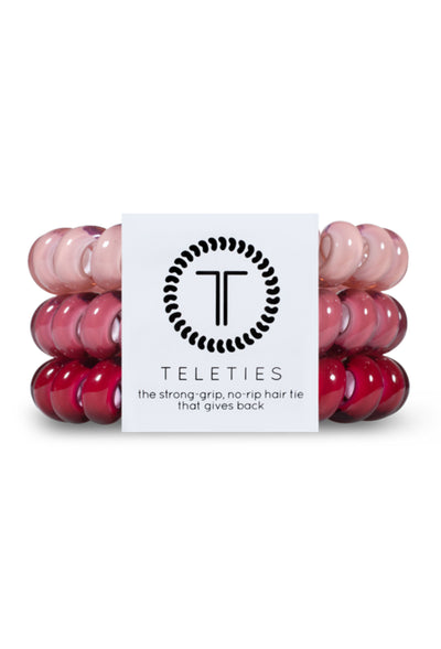 TELETIES Large Hair Ties - Everything's Rosy, 3 different pink hues coil hair ties