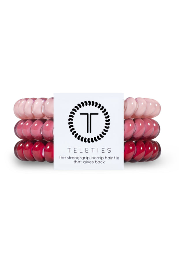 TELETIES Small Hair Ties - Everything's Rosy, 3 different pink hued coil hair ties