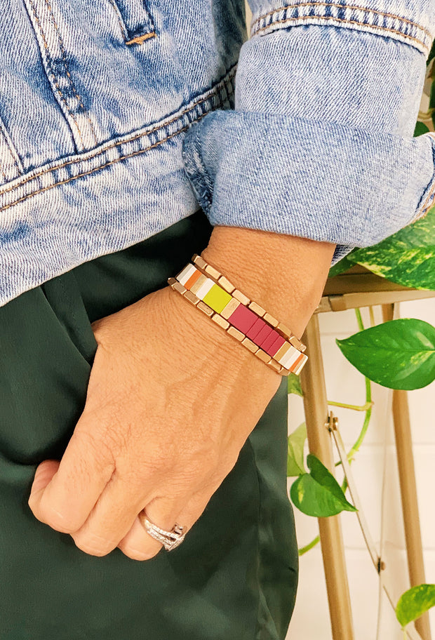 Fall Colorblock Stretch Bracelet Set, 3 set bracelet - one fall color block enamel block bracelet and 2 gold rectangle stretch bracelets