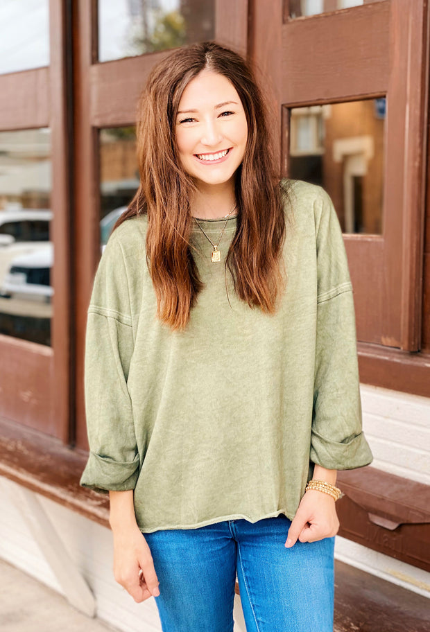 Fern Raw Edge Top in Olive, olive 3/4 sweatshirt top with raw edge and cuffed sleeves from urge
