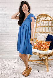 Flutter Sleeve T-Shirt Dress in Indigo, blue flutter cap sleeve flow v neck dress