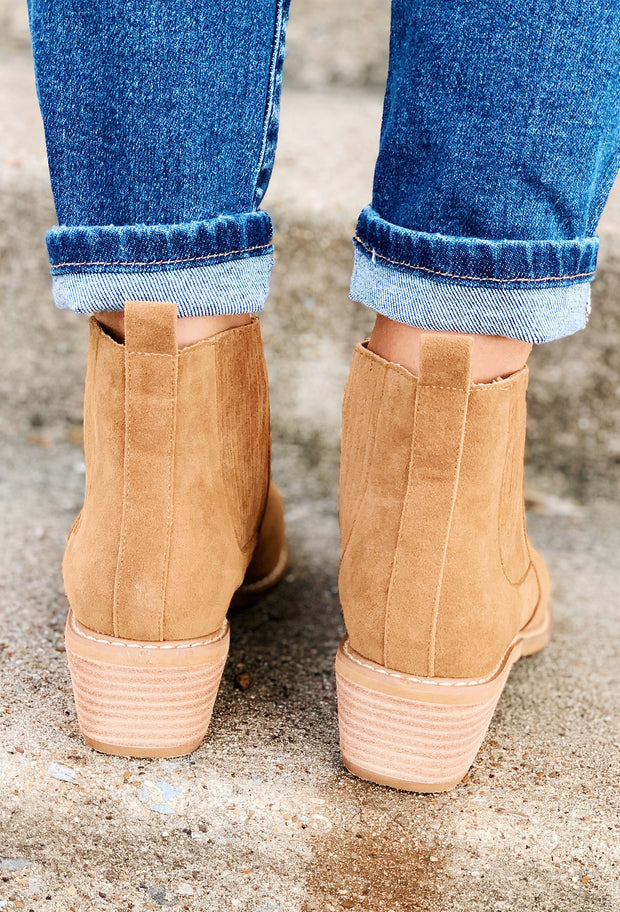 Miracle Mile Francis Bootie in Camel, camel brown pointed toe booties