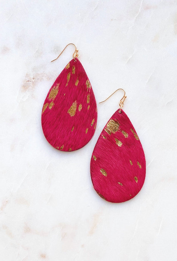 Fuchsia & Gold Teardrop Earrings, stamped out teardrop earrings with faux hot pink cow hair with gold spots