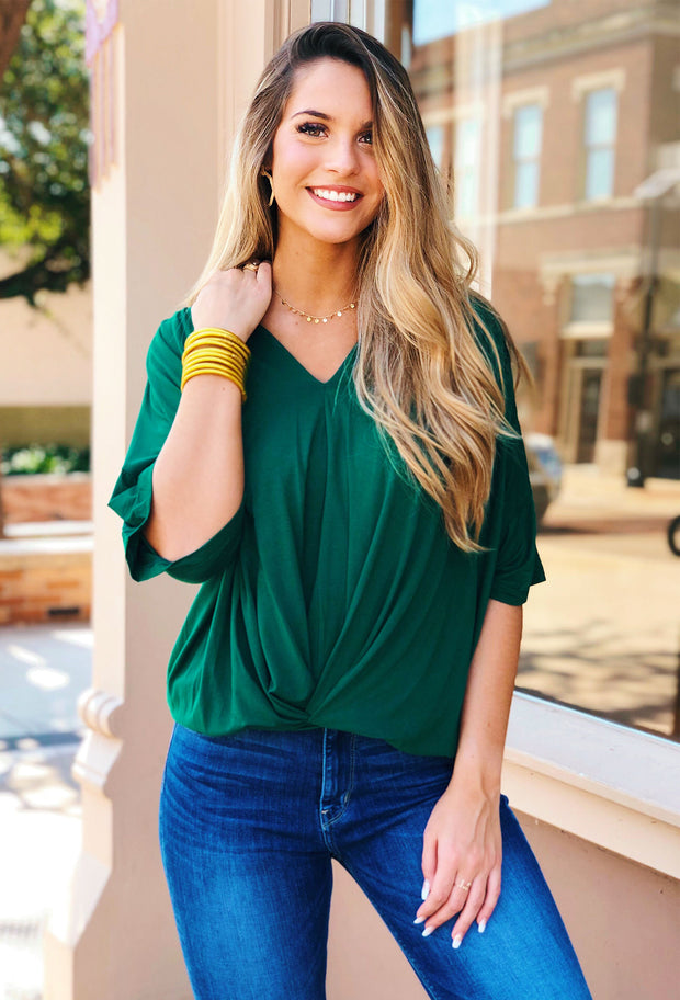 Gabby Gathered Detail Top in Hunter Green, dark green blouse by umgee with twist front detail