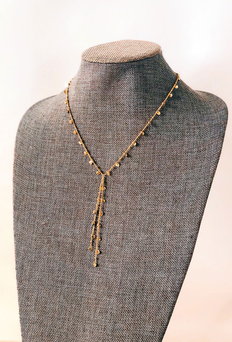 Gabriella Coin Necklace in Gold, adjustable gold necklace with tiny coin accents