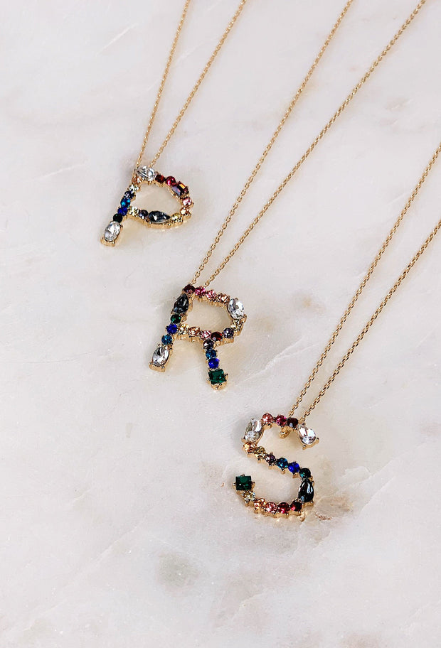 Gemma Initial Necklace, initials on a gold chain with different color and shaped gem stones