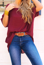 Gisele Belt in Warm Tan, wide chestnut belt with gold buckle