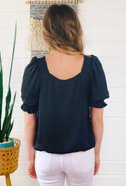 Goes with Everything Blouse in Black, black silk blouse with square neck and puff shoulders