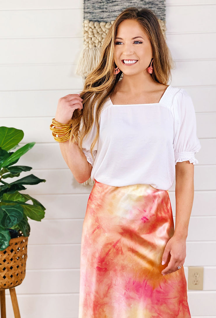 Goes with Everything Blouse White, white blouse with sleeve detail paired with a tie dye skirt