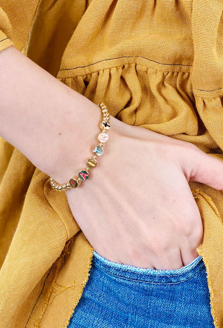 Gold Bead Word Stretch Bracelet, gold colorful word bracelets, faith bracelet