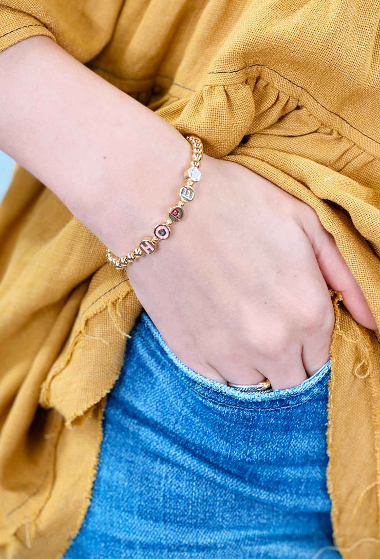 Gold Bead Word Stretch Bracelet, gold colorful word bracelets, hope bracelet