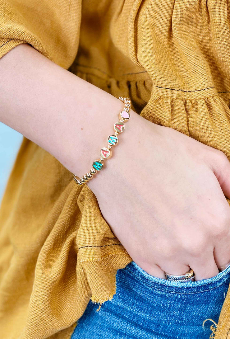 Gold Bead Word Stretch Bracelet, gold colorful word bracelets, mama bracelet