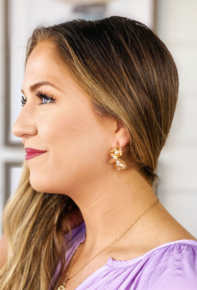 Gold Bloom Hoop Earrings, gold flowers with pearl center on a gold hoop earring