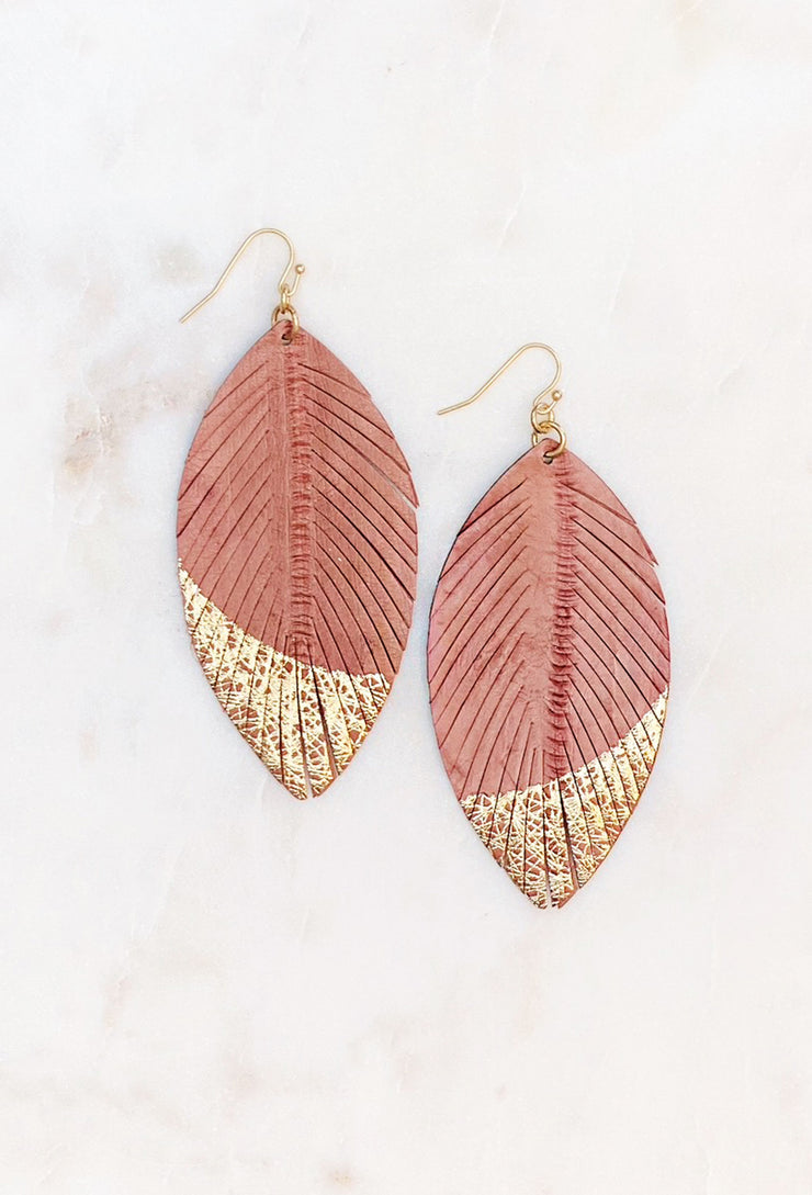 Gold Dipped Leather Earrings in Misty Mauve, muted coral leather stamped feather earring with gold dipped ends