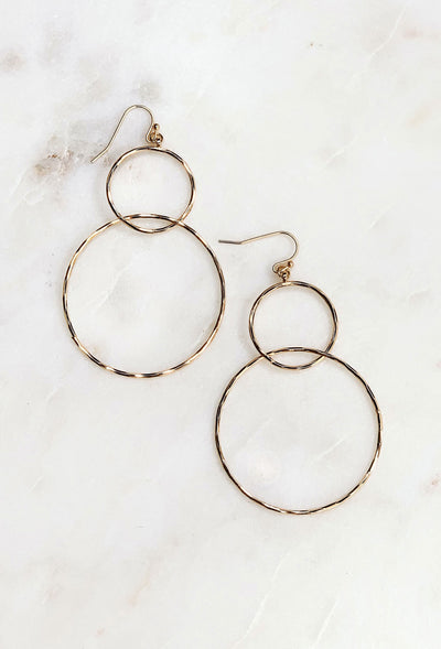 Circular Motion Gold Earrings, double circle gold hoop earring on hook backing