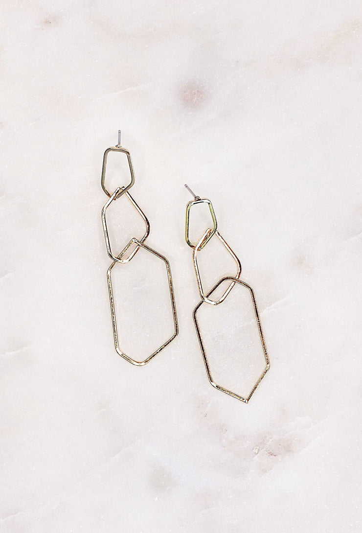 Beverly Gold Dangle Earrings, 3 tiered geometric shaped gold dangle earrings