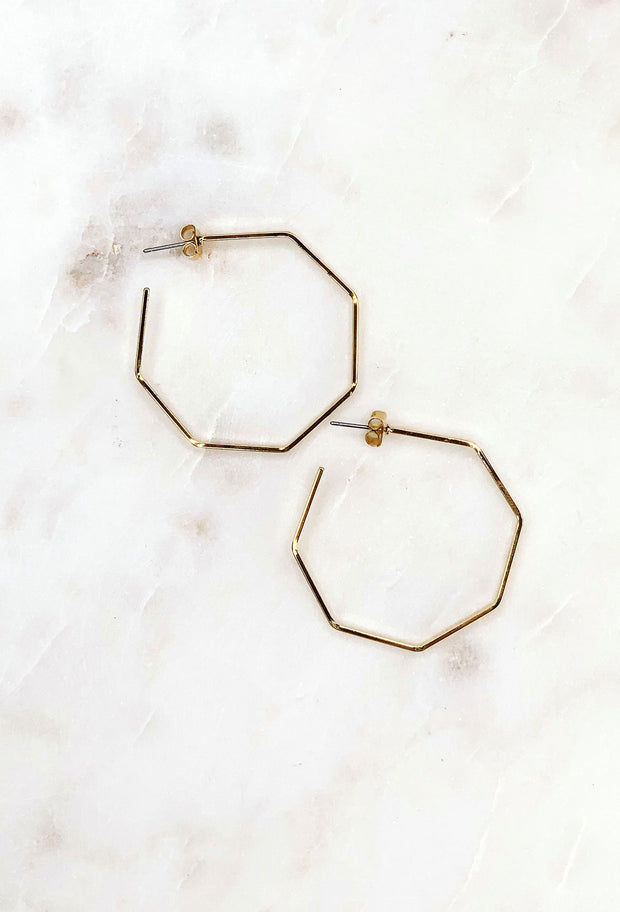 Rina Gold Hoop Earrings, thin gold hexagon hoop earrings