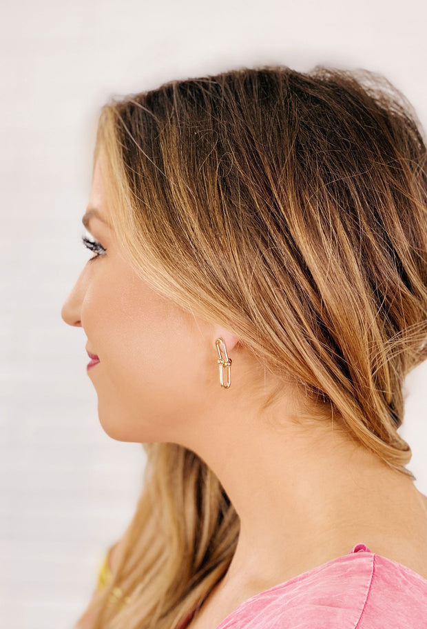 Gold Interlock Chain Earrings, two dainty interlocking ball chain links