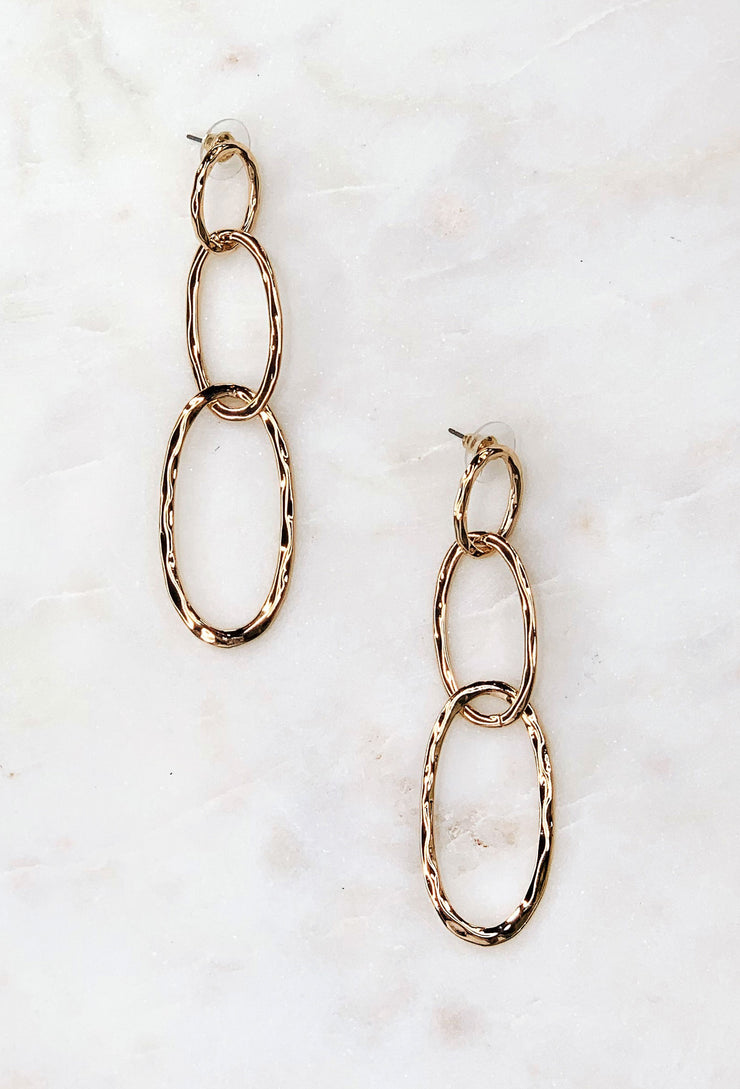 Gold Oval Chain Link Earrings, 3 gold over interlocking chain links on post backing