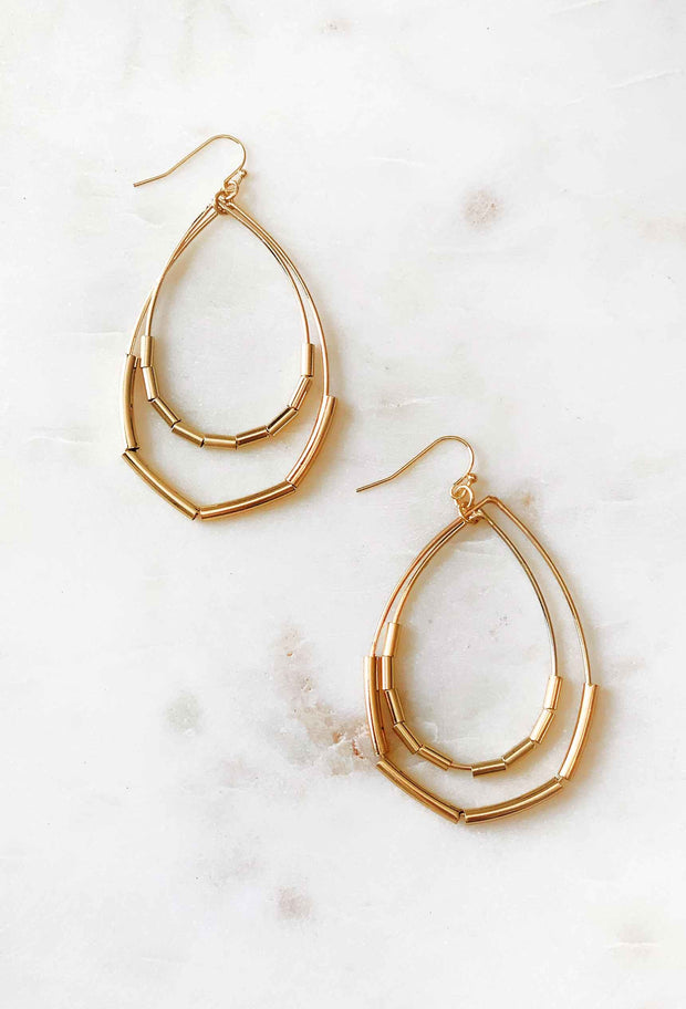 Gold Oval Teardrop Earrings, gold double hoop oval teardrop earrings on hook backing