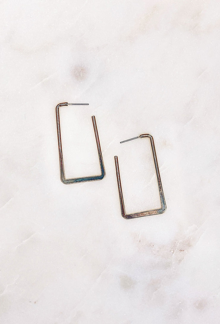 Anna Gold Rectangle Earring, shiny gold rectangle hoop earrings