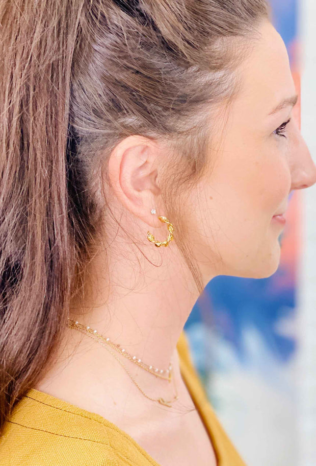 Gold Twist Hoop Earrings,  dainty small gold twisted hoop earrings