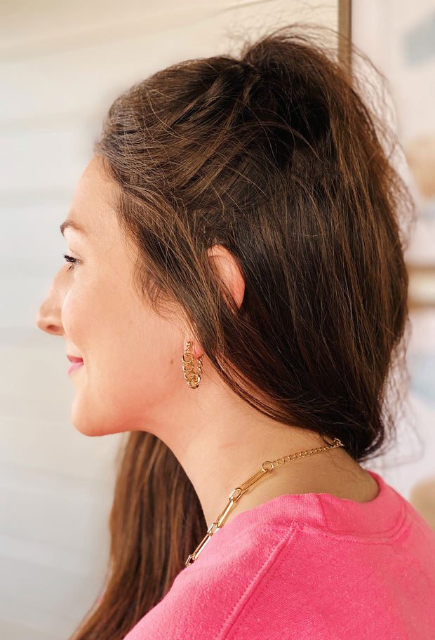 Gold Chain Hoop Earrings, gold chain link connected earrings, hangs like a hoop