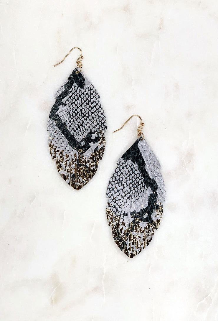 Gold Dipped Leather Snakeskin Earrings, black and gray leather stamped snakeskin earrings with gold dipped ends