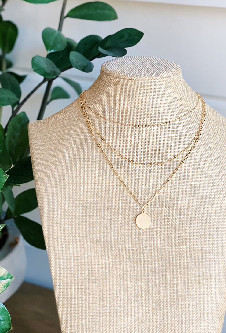 Gold Layered Chain Link & Coin Necklace, 3 layered gold chain link necklace with gold pendant coin