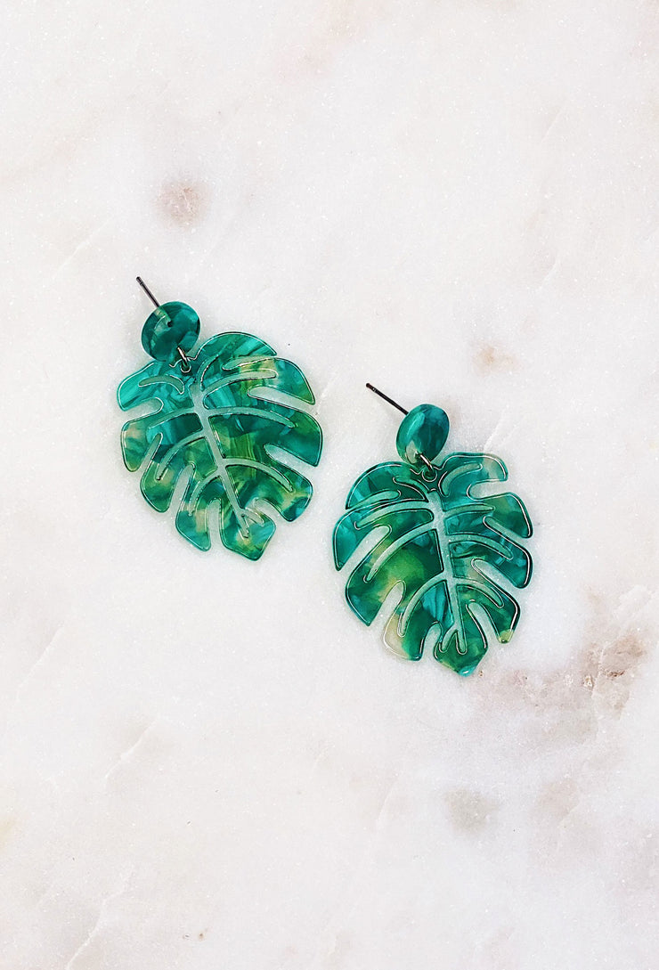 Green Resin Palm Earrings, green tortoise earrings in a light weight cut out palm leaf earring