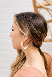 Grenada Resin Hoop Earrings, gold resin statement hoops