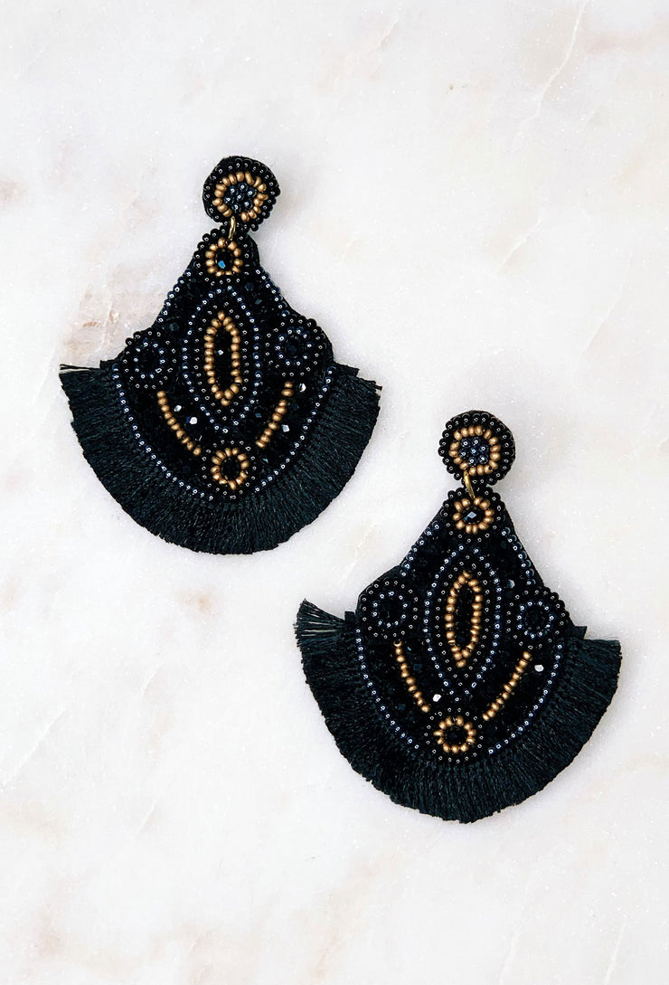 Greta Bead & Fringe Earrings, black and gold beaded fringe statement earrings