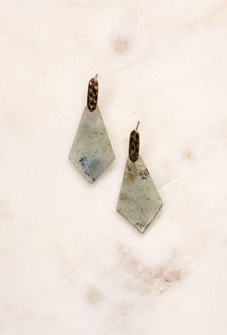 Arlo Geometric Earrings in Grey, grey cement diamond shaped earrings on gold post  Edit alt text