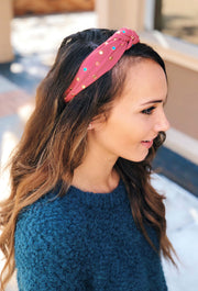 Hanna Multi Crystal Headband in Mauve, pink colored headband with multi colored crystals and a knot at the top