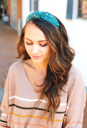 Hanna Multi Crystal Headband in Teal, teal colored headband with multicolored stones and knotted at the top