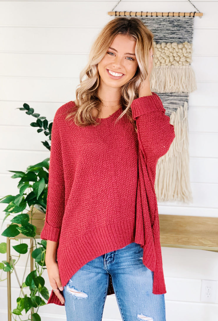 Harley Knit Sweater in Berry, open lightweight knit sweater with side slits and cuffed 3/4 sleeves