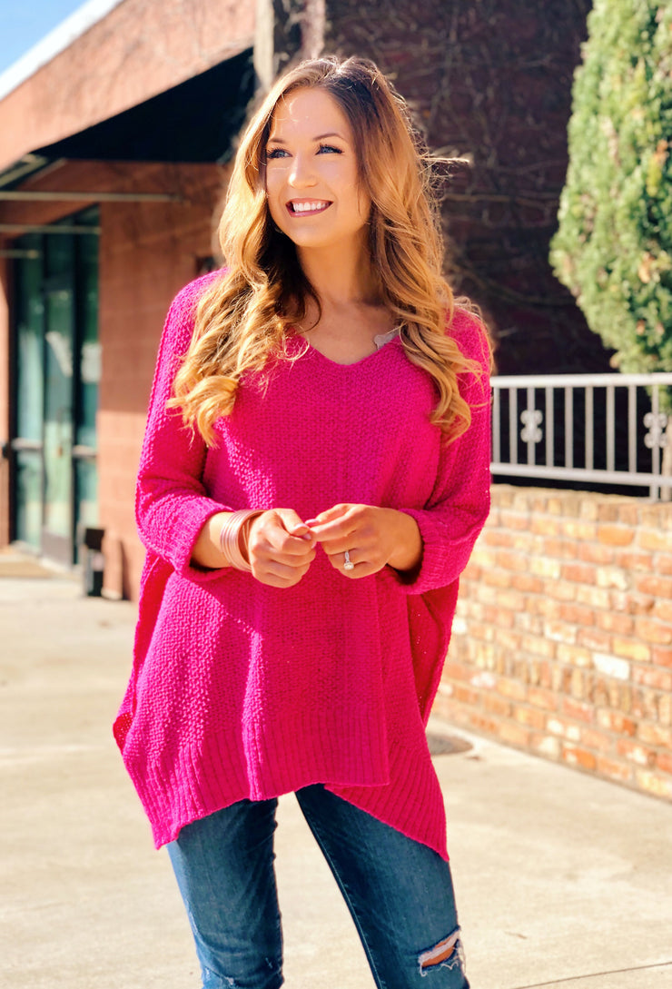 Harley Knit Sweater in Fuchsia