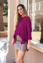 harley knit sweater in magenta, light weight one size sweater in pink