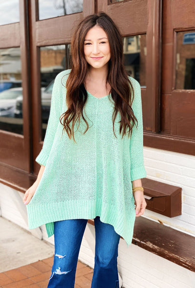 Harley Knit Sweater in Mint, mint green open knit one size sweater with v neckline