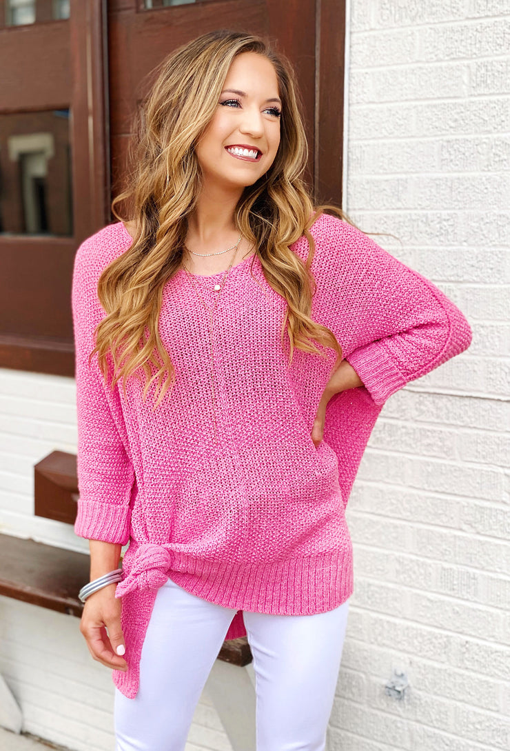 Harley Knit Sweater in Pink, pink open knit one size sweater with v neckline