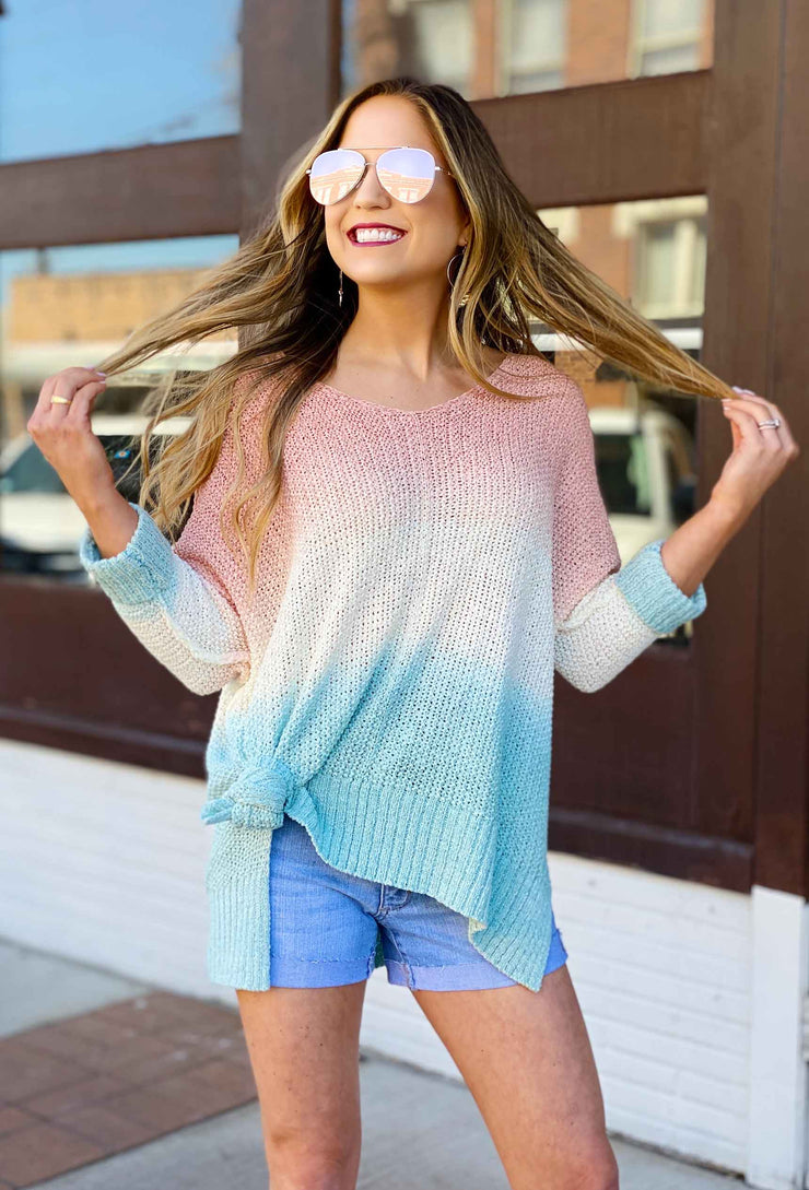 Harley Ombre Knit Sweater, pink and blue ombre open knit sweater