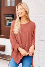 Harley Knit Sweater in Cinnamon, one size knit sweater in a muted mauve color