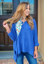 Harley Knit Sweater in Cobalt Blue