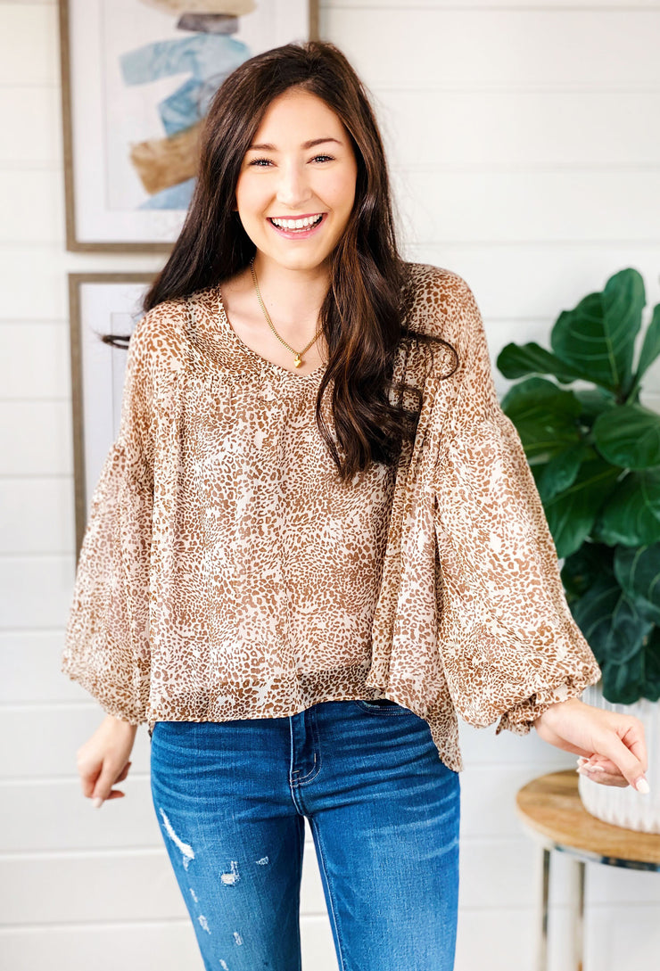 Havana Mocha Spotted Blouse, brown spotted chiffon blouse