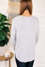 Heathered Grey Plush Top, heathered gray salt and pepper soft long sleeve top